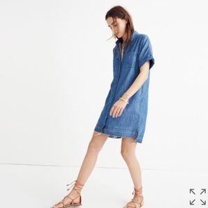 • Madewell • Denim Drop Hem Frayed Shirt Dress XS